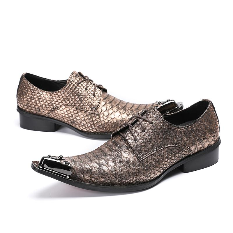 7f7784c29 Compre Italiano Hot Moda Pele De Cobra De Bronze De Couro Genuíno Oxford  Sapatos Para Homens Rendas Até Toe De Aço Dos Homens Vestido De Casamento  Sapatos ...