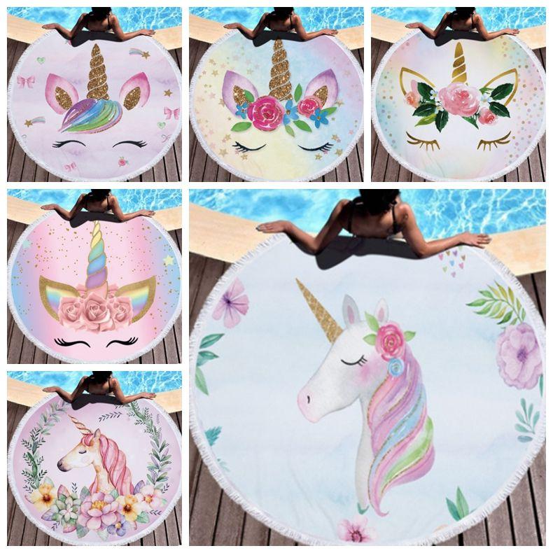 f861fa3239589 Unicorn Beach Towels Tassels Round Beach Towel Polyester Women Bikini Cover  Up Picnic Rug Yoga Mat Tablecloth 16 Designs YW2665 UK 2019 From  Bling_world, ...