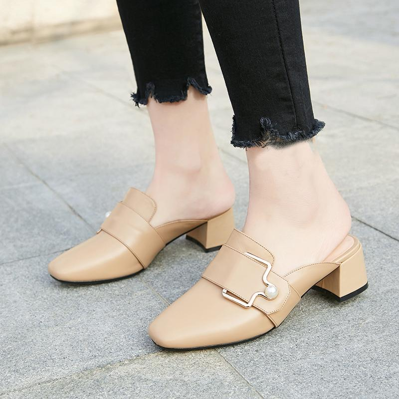 a25165cbd8a0e women s slippers elegant genuine leather mules pearl metal decoration women  s shoes comfortable block heels summer shoes