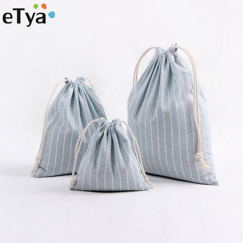 ETya Women Stripe Drawstring Bag Travel Reusable FoldingCosmetic ... 187647bbf4