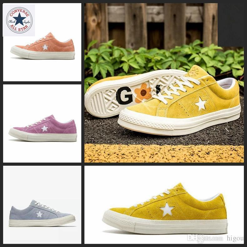 2018 New⠀Converse One Star X Golf Le Fleur Yellow Casual Fashion Canvas Fur  Designer Running Skateboard Shoes Sneakers 35 44 Italian Shoes Cute Shoes  From ... fc73e9d23aae5