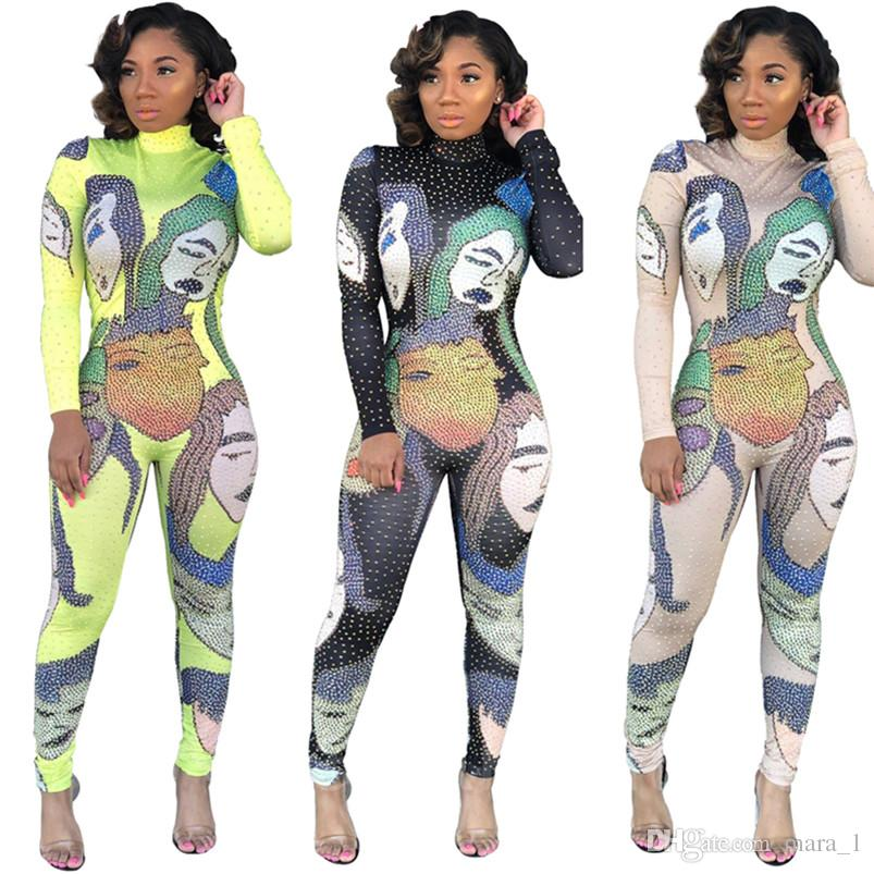 Designer Women long sleeve jumpsuit scrawl head portrait Rompers Sexy One Piece novelty Spring Summer Clothes 2332