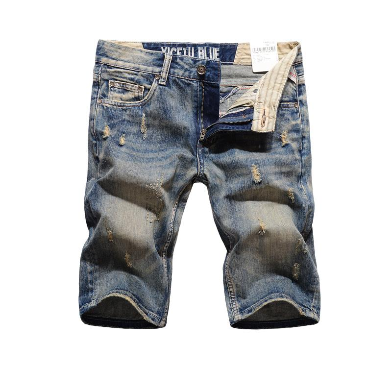 Italian Style Fashion Mens Jeans Shorts Knee Length Brand Summer Denim Shorts Men High Quality Retro Casual Short Jeans Men