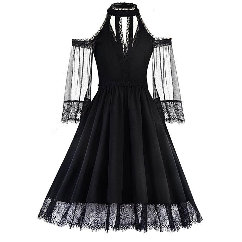 7da73e503e Women Dresses Casual Elegant Gothic Office Lady Aline Off Shoulder Solid  Mesh Summer Female Vintage Fashion Black Goth Dress