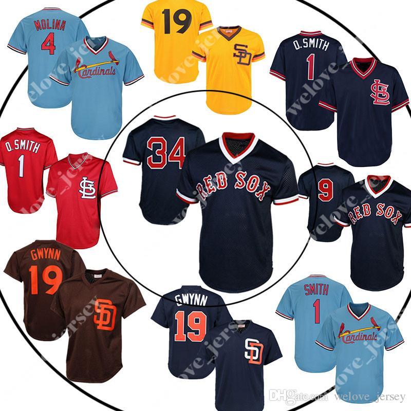 e2ff2020 Men's Sox 9 Ted Williams Ortiz St Louis jerseys Cardinal 1 Ozzie Smith  Kansas jerseys 19 Tony Gwynn Retro Mesh jersey wholesale