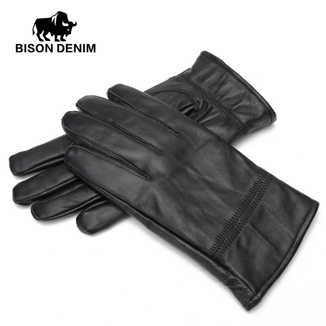 BISON DENIM Men Winter Warm Gloves Outdoors Sheepskin Genuine Leather Warm Black Leather Gloves For Men S003