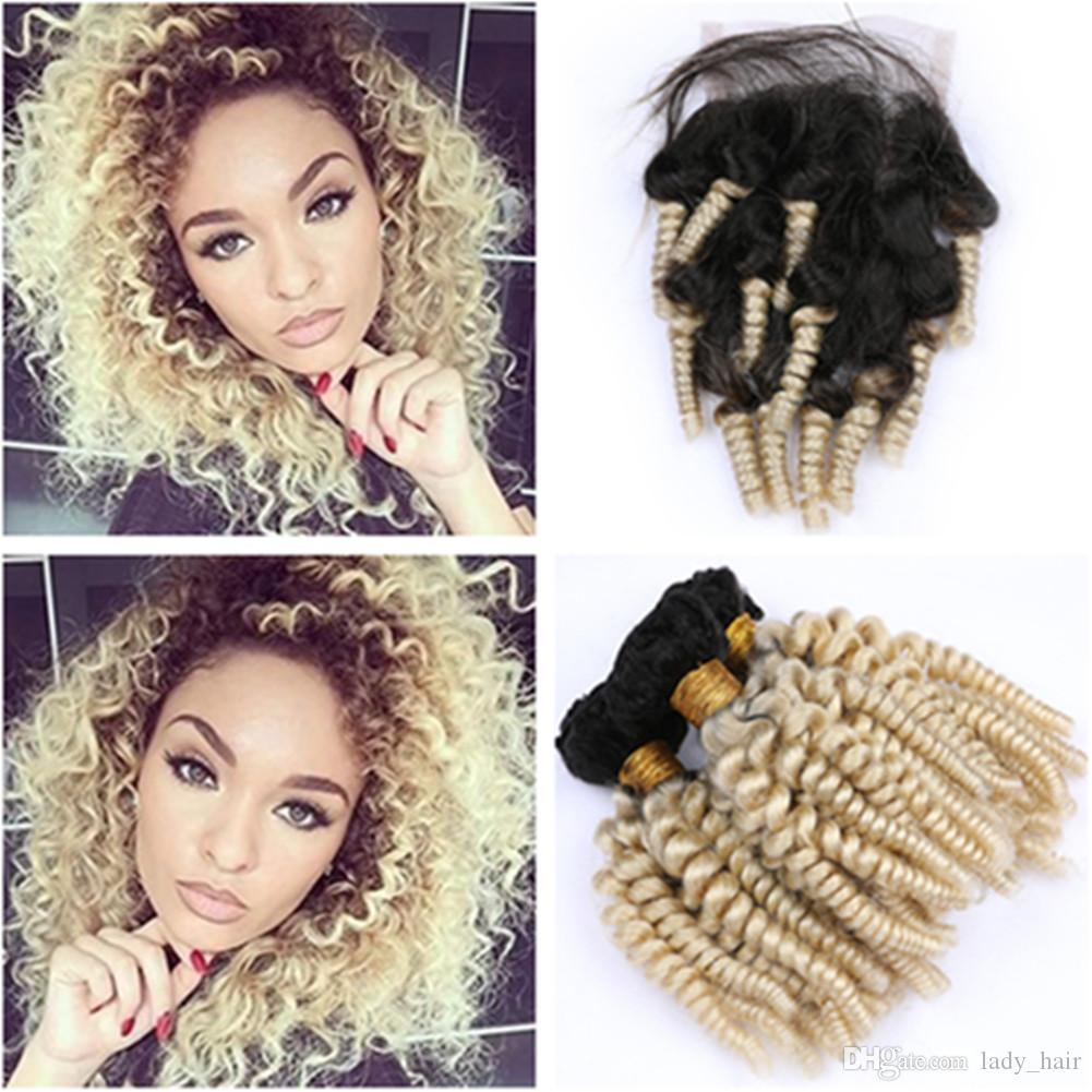"Blonde Ombre Funmi Curly Virgin Hair Lace Closure 4x4"" with 3Bundles #1B 613 Ombre Peruvian Aunty Funmi Human Hair Extensions with Closure"