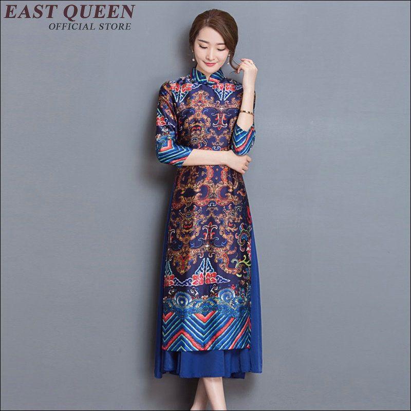 7a5866f4c161c Charming Retro Chinese Women Autumn Winter Velour Cheongsam Dress QiPao  Long Party Wear Cheongsams Dresses for Women Lady AA1555