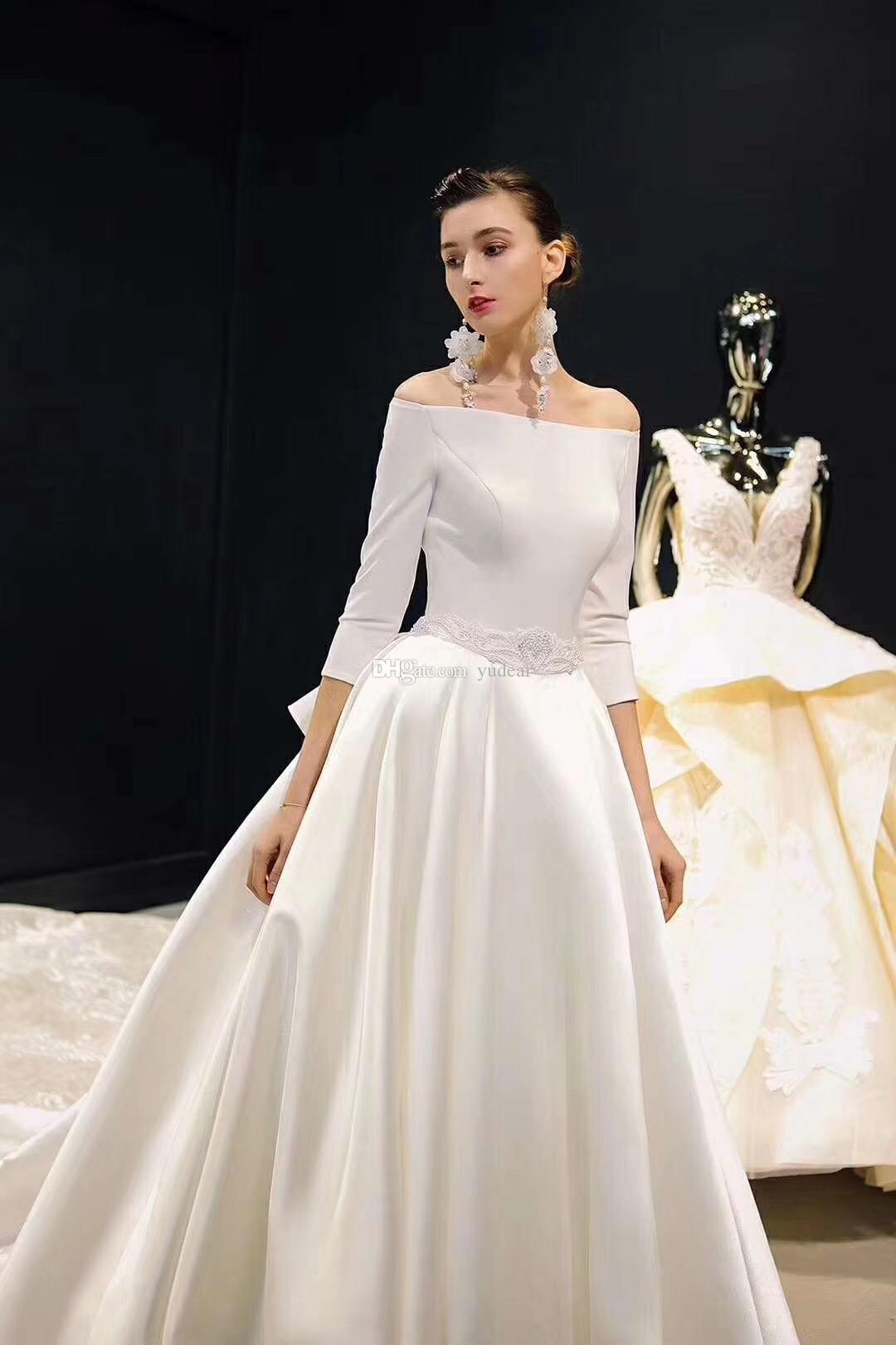 Charming Off Shoulder 2019 Women Wedding Dresses 3/4 Long Sleeves Satin Bridal Dresses Formal Chapel Train Wedding Gowns for Sexy Big Girls