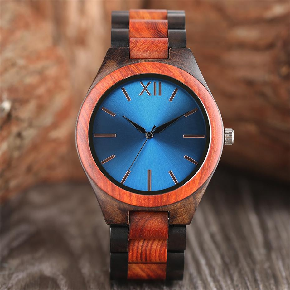 Creative Sun-glass Round Dial Men's Wooden Watch Luxury Wood Bangle Watch Band High Quality Mens Watches Top Gift Clock Male