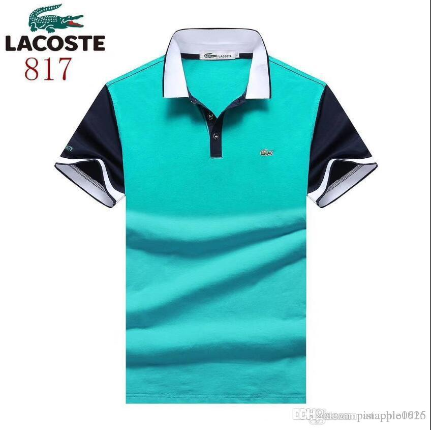 2d2cfa52e97d 2019 New Summer Lapel Polo Shirt Embroidered Cotton Short Sleeved ...