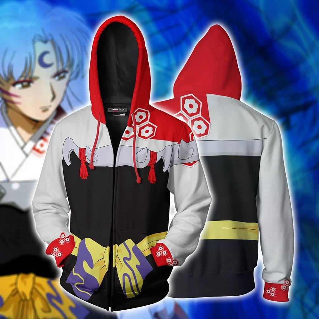 Anime Inuyasha Sesshomaru Jacket Hoodie 3D Print With Cap Clothes Cosplay Coat Zipper Unisex Costume