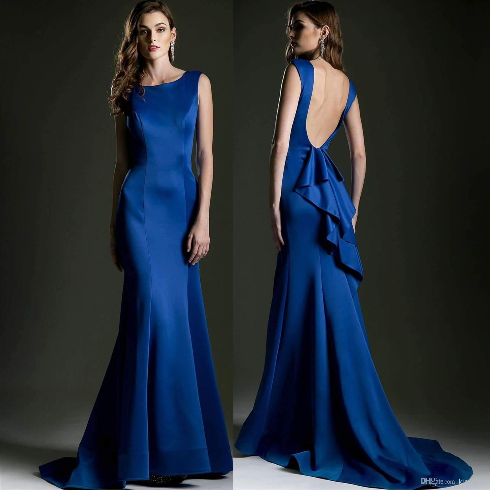 Simple Mermaid Long Prom Dresses With Open Back 2019 Sexy Scoop Neck Formal  Evening Gowns Sweet 16 Dress Women Elegant Cocktail Party Gown  Whatchamacallit ... 7202021ab2f9