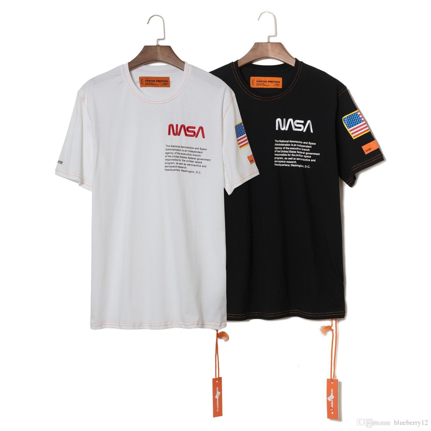 reputable site 0c6cc 50d7e NASA x Heron Preston T Shirt Herren Sommer Kurzarm T Shirts Emboridered  Crewneck Lässige Tops 2 Farben