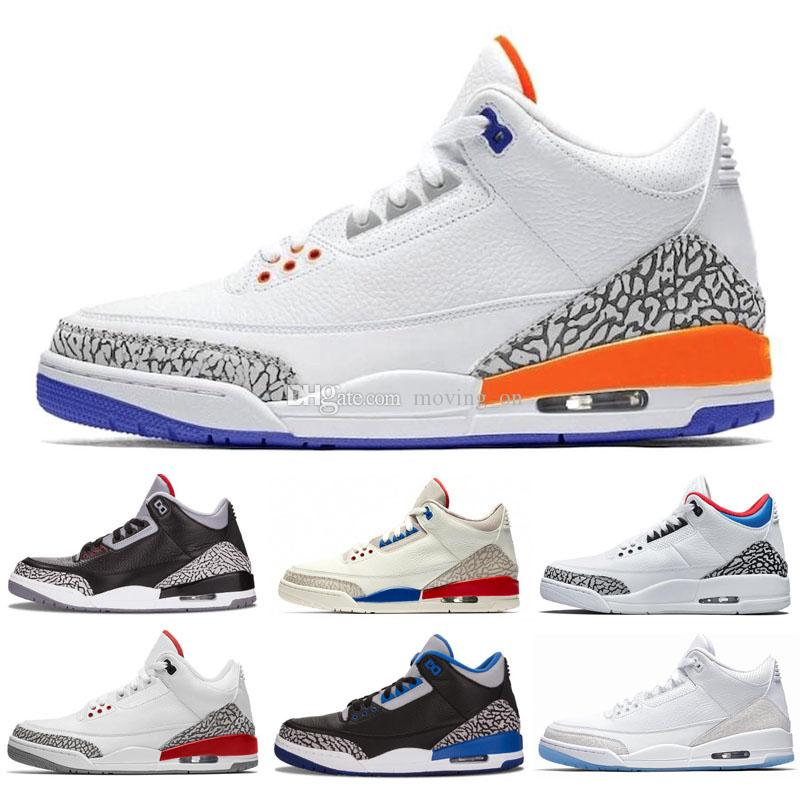 hot sale online 6f668 b1e1a New Mocha 3s Jumpman III 3 Knicks Rivals Men Casual Shoes Chlorophyll  Varsity Red Tinker white cement Katrina Casual Shoes 7-13