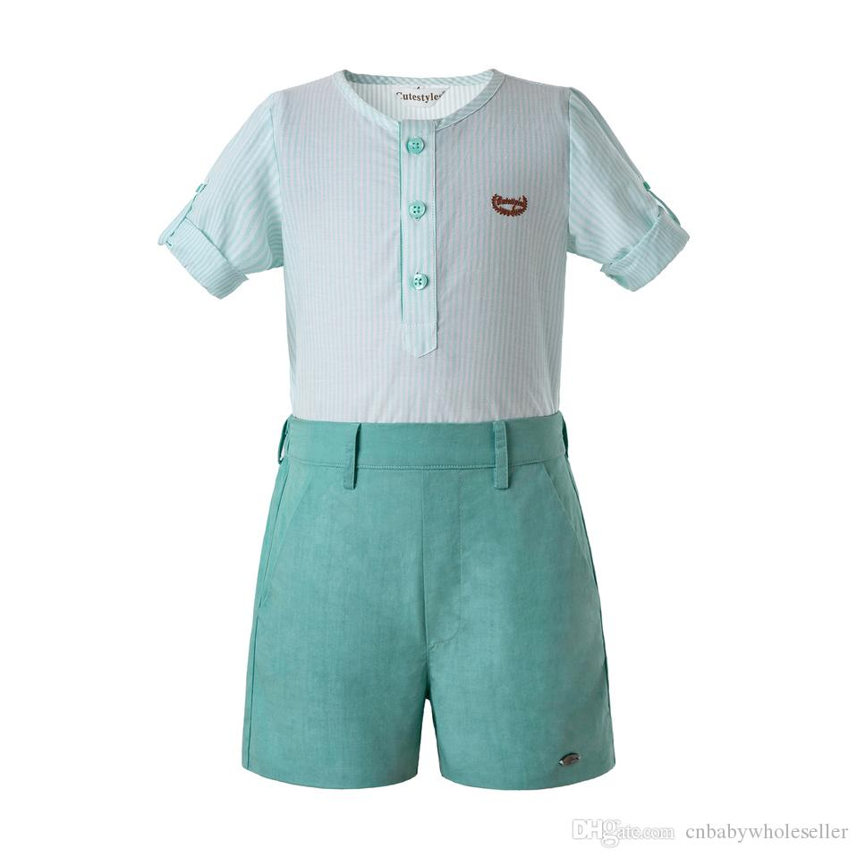 Pettigirl Mint Green Toddler Boy Clothes Long Sleeves Clothing Sets White Single Row Button Kids Designer Clothes Boys B-DMCS201-C140