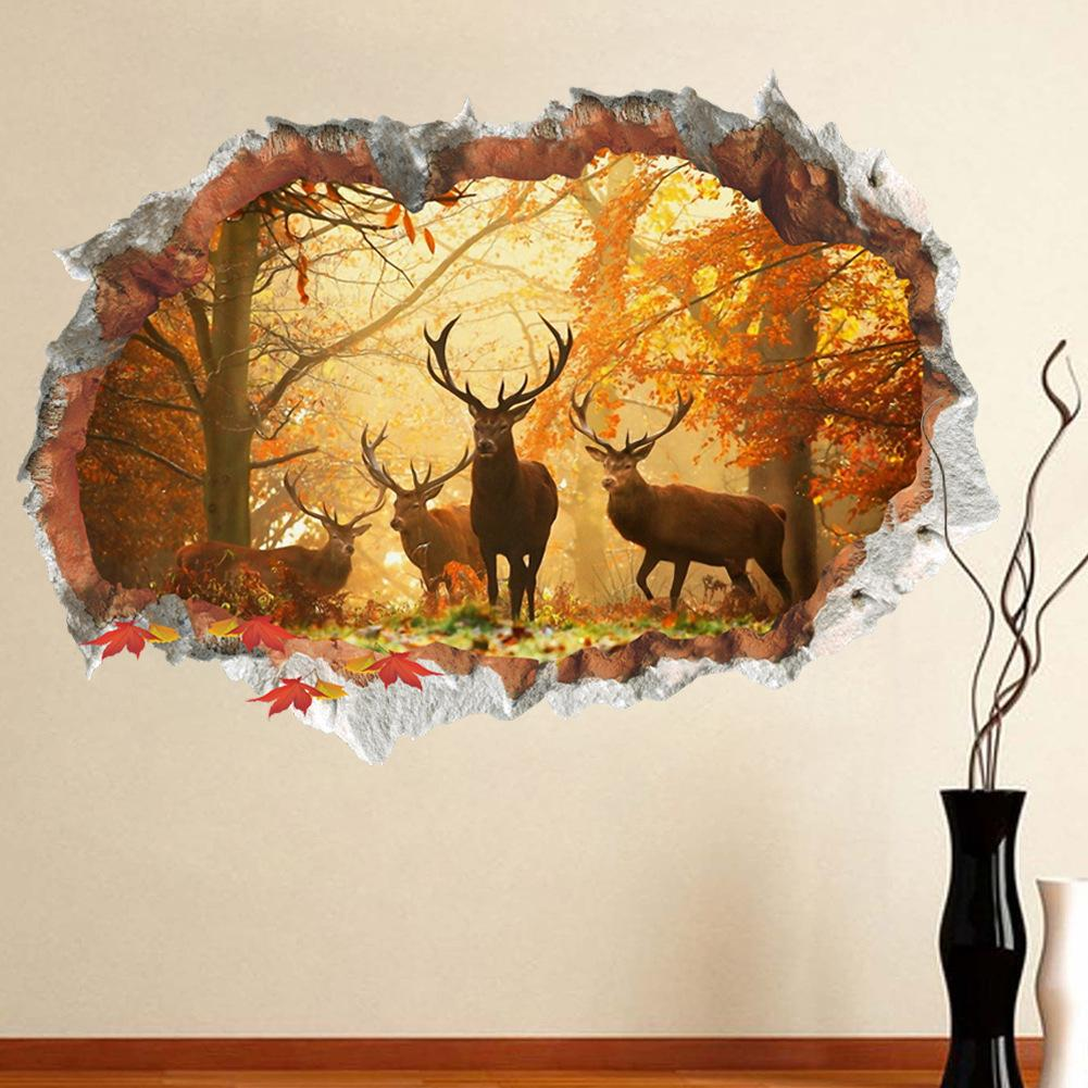 3D Broken Wall Decor Forest Elk Wall Stickers for Kids Rooms Home Decor DIY Animals Poster Mural Wallpaper PVC Wall Decals