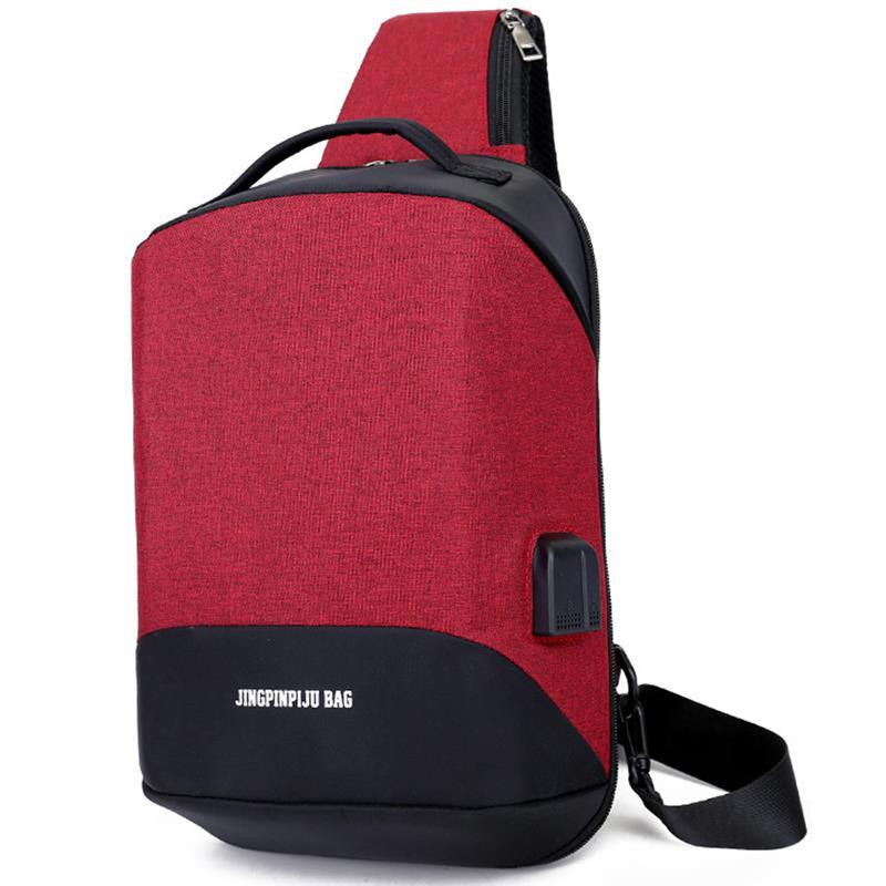 Retro Anti-Theft Sling Men Bag Canvas Messenger Chest Bag USB Soft Shoulder Hidden Pack Crossbody Square Phone Women