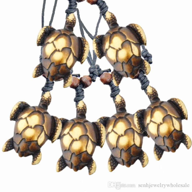 Wholesale COOL 12pcs imitataion bone carved lovely sea turtles charms pendants surf necklaces gift MN443-3