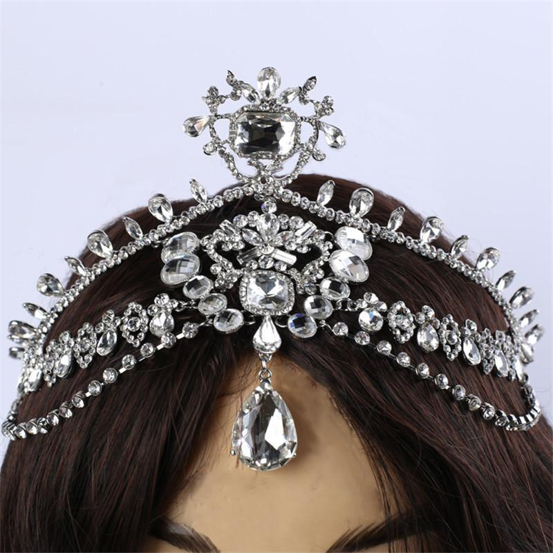 Fashion Sparkly Crystal Bridal Head Chain indian hair jewelry tikka women Wedding Tiara Bride forehead Decoration Accessories C18122501