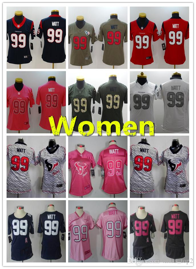 2019 New Women 99 J.J. Watt Jersey Houston Texans Football Jersey 100%  Stitched Embroidery Texans J.J. Watt Color Rush Women Football Shirt Online  Shirt . b75b62482