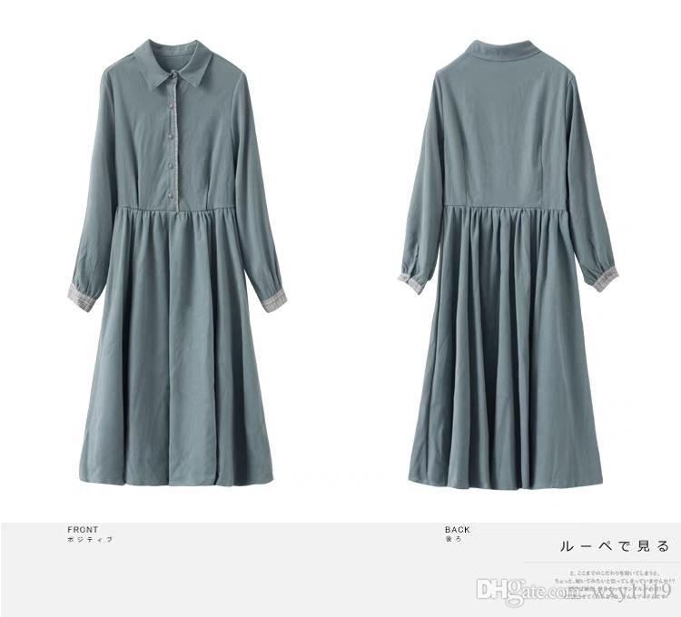 ce1f192831 Compre Vestido De Manga Larga Mujer Otoño 2018 Nuevo Estudiante Francés  Niña Té Falda Colección Vintage Con Una Falda Larga A  30.16 Del Wxy1119