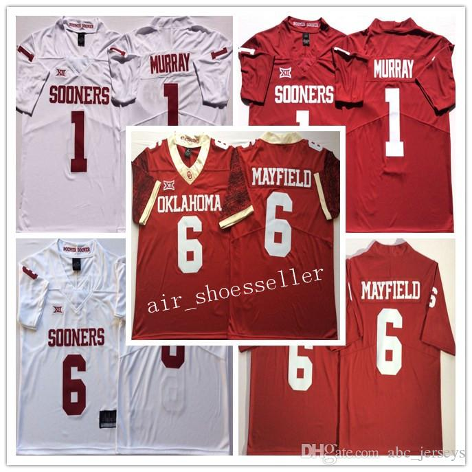 1becfd6ecad 2019 NCAA Mens Oklahoma Sooners College Jerseys 1 Kyler Murray 6 Baker  Mayfield Men Football Jerseys Good Quality From Abc_jerseys, $19.13 |  DHgate.Com