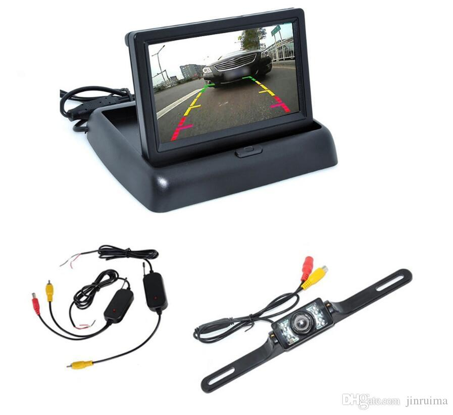 "New Car Rear View Camera Set 4.3"" TFT LCD Monitor Wireless Transmitter Receiver Backup Reverse Camera Parking System Night Vision"