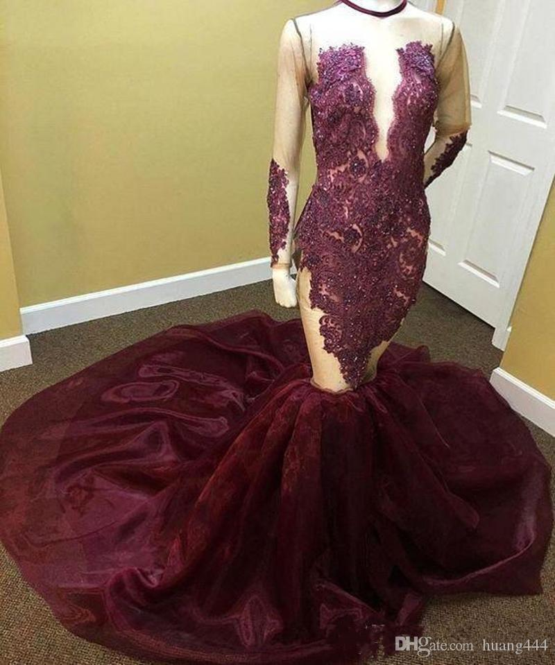 2019 New African Burgundy Mermaid Long Sleeves Prom Dresses Sheer See Through Beaded Crystal O neck Court Train Long Prom Gowns