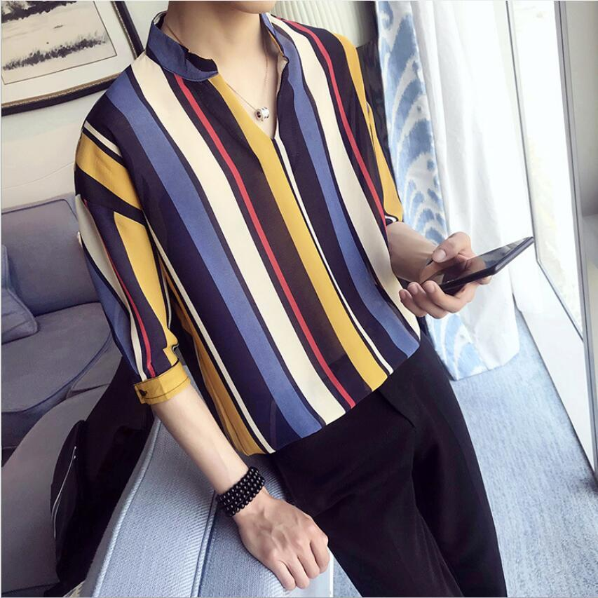 5d325a9dbef 2019 Summer Striped Shirt Men Fashion Brand Loose Stand Collar Pullover  Mens Shirts Half Sleeve Casual Shirt Youthful Popularity From Workwell