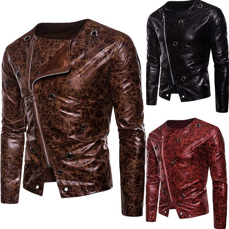 Men's PU Leather Zipper Coat Motorcycle Slim Jacket Biker Outwear Top Side Zipper Punk Fashion Leather Jacket Autumn Streetwear