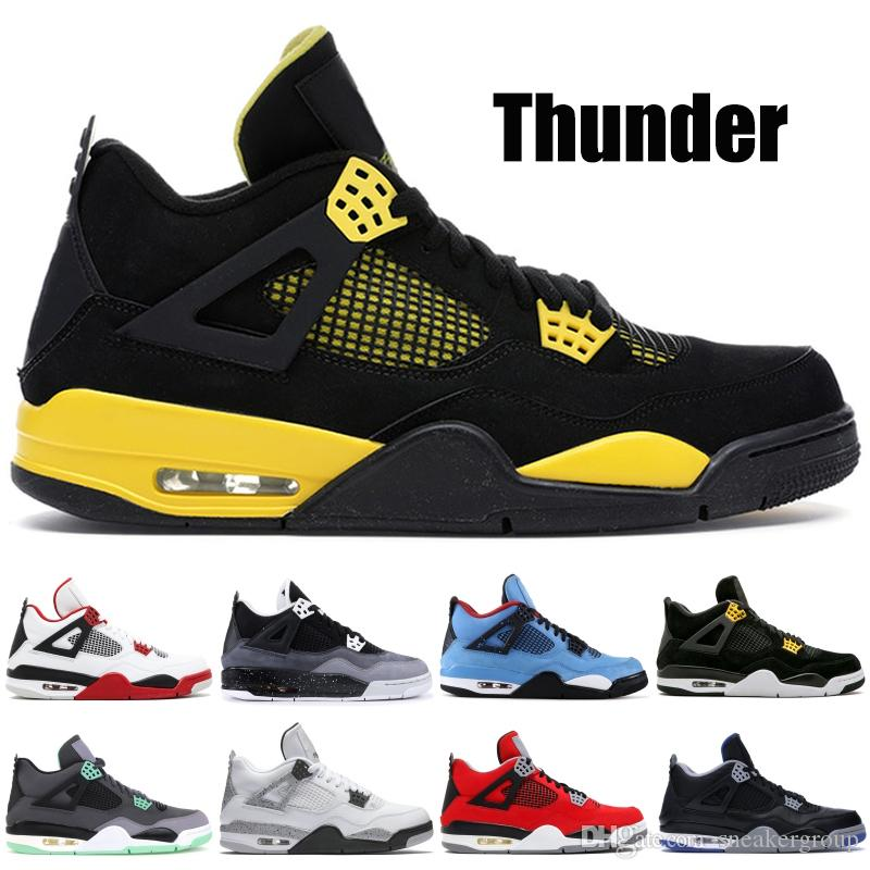 online retailer d0afd 3ab06 Thunder 4 4s Men Basketball Shoes White Cement Fire Red Green Glow Fear  Pack Trainers Designer Shoes Sport Sneakers US 7-13