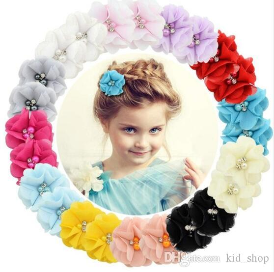 1 Pcs Baby hair solid Chiffon Flower Clips Newborn baby Girls Mini Hair Clips Hair Accessories Kids Barrettes