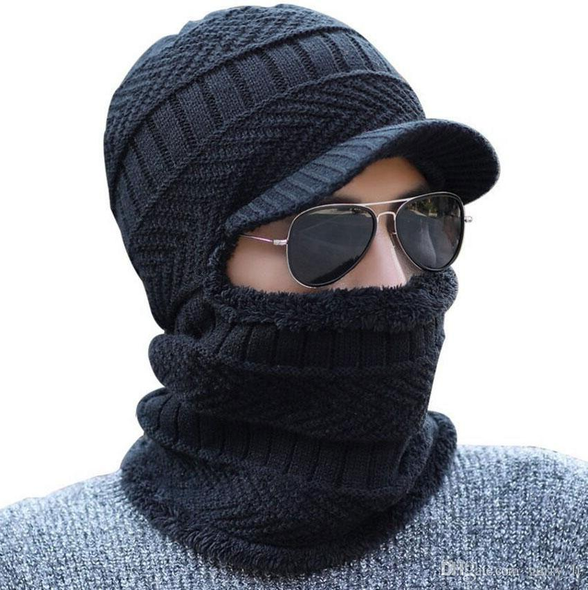 Winter Bonnet Hat And Scarf For Women Men Ring Scarves Cap With Brim  Knitted Visor Beanies Balaclava Adult Bonnet Mask Neck Warmer Beanie Hat  Sun Hats From ... 23fa82050db