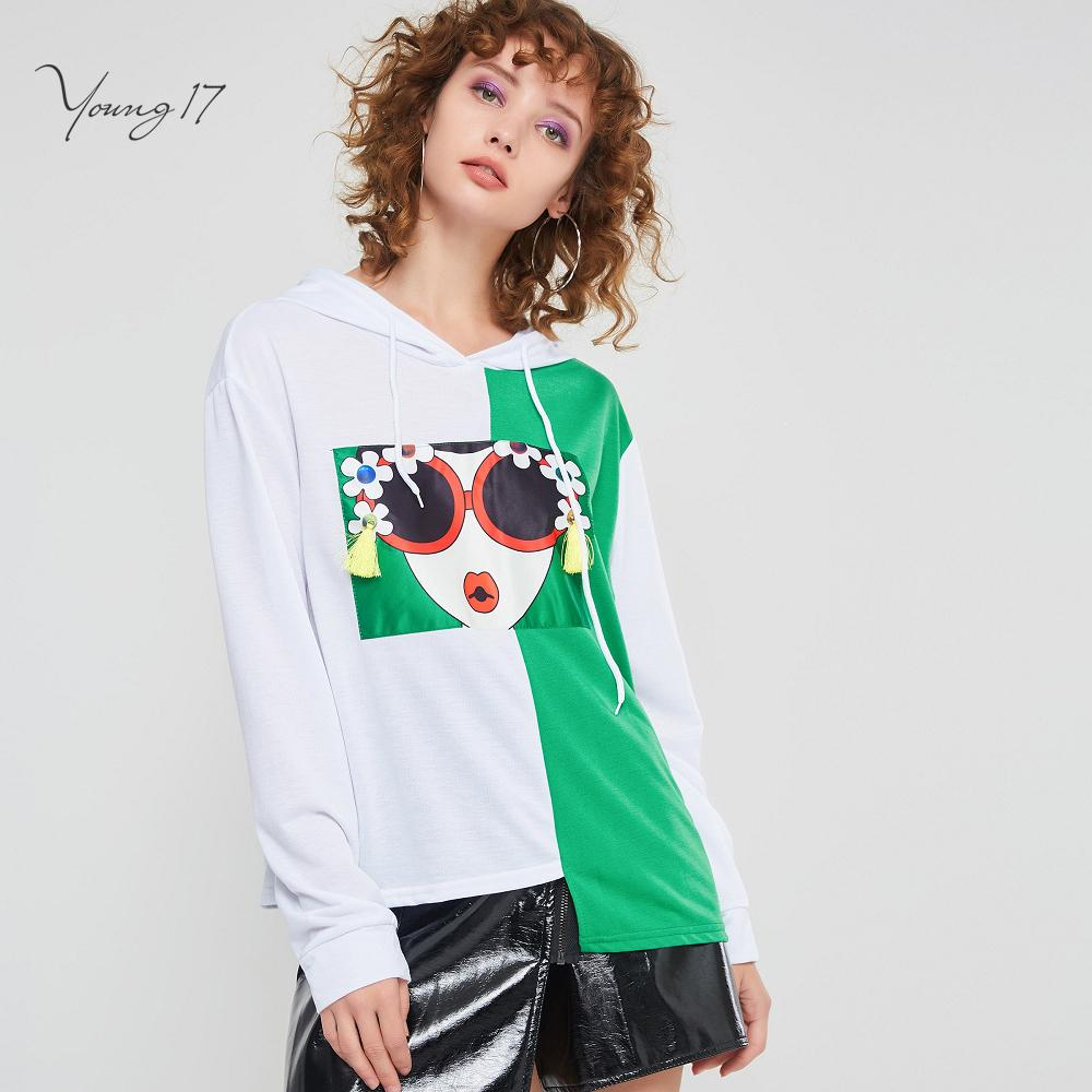 3d5242206b6ff Cartoon Green White Hooded Hoodies Women Girl Spring Winter Plus Size Loose  Sweatshirt Lace Up Asymmetric Hip Hop Hoodie C19041501
