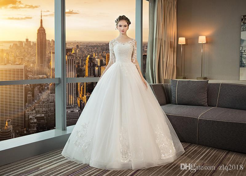 Discount 2019 Lace Wedding Dresses Long Sleeves Ball Gown