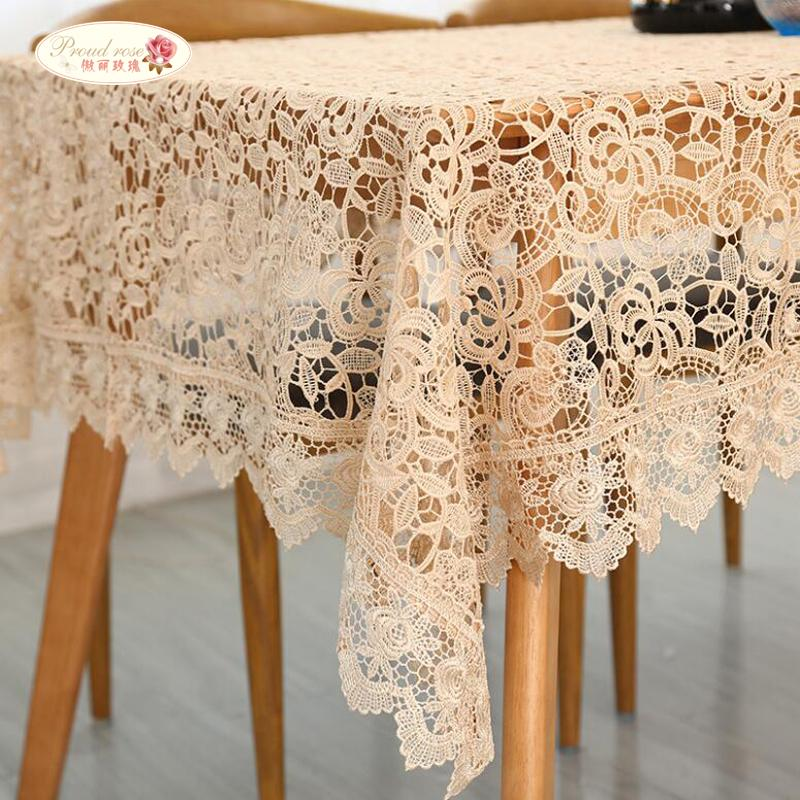 Proud Rose Light Coffee Embroidered Table Cloth European Lace Table Cloth  Home Decor Rectangular Tablecloths Cover