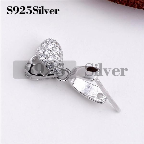 HOPEARL Jewelry Heart Pinch Bails 925 Silver CZ Pendant Charm Findings Pendant Attachment for Gemstones 3 Pieces