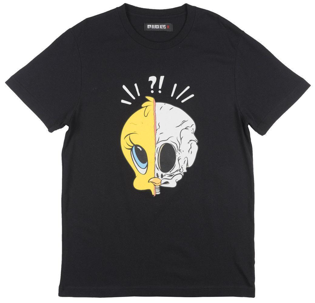 Black Keys Split Bird Regular Fit T Shirt Skull Bones Cartoon