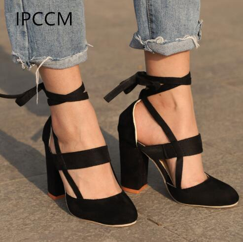 7869d458f39 Ipccm Plus Size Female Ankle Strap High Heels Flock Gladiator Shoes Lace Up  Thick Heel Fashion Hollow Women Party Wedding Pumps Mens Boat Shoes Loafers  For ...
