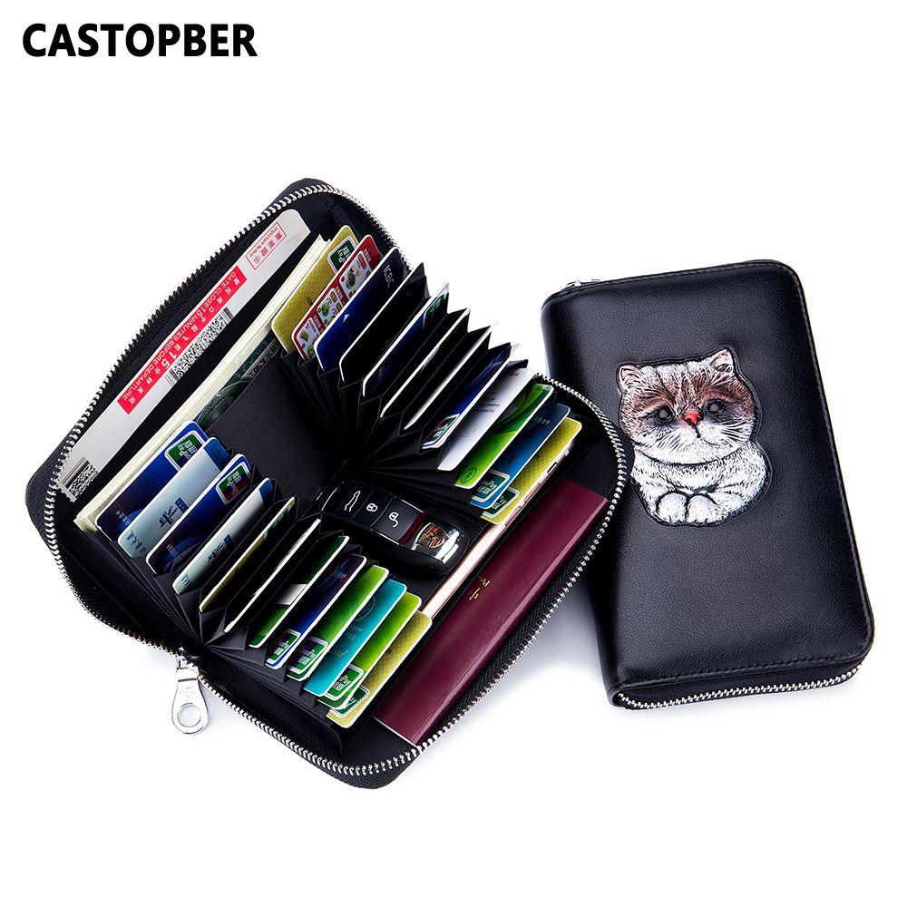 6706c38ec47b Pocket RFID Blocking Wallet Women Antitheft Painted Cute Cat Split Leather  Ladies Fashion Wallet Card Holder Girls Long Purse