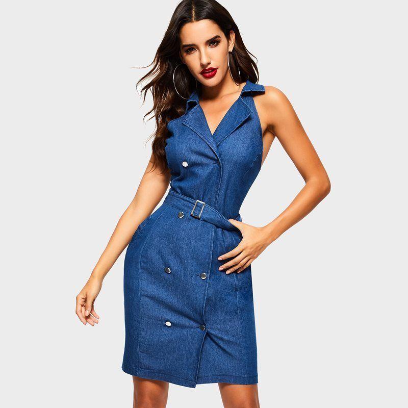 74a85a08fc Compre Mujeres Casual Corto Azul Delgado Camisa De Mezclilla Vestido De  High Street Fecha Viaje Playa Vestido De Fiesta Señora Vestido De Trabajo  Cinturón ...