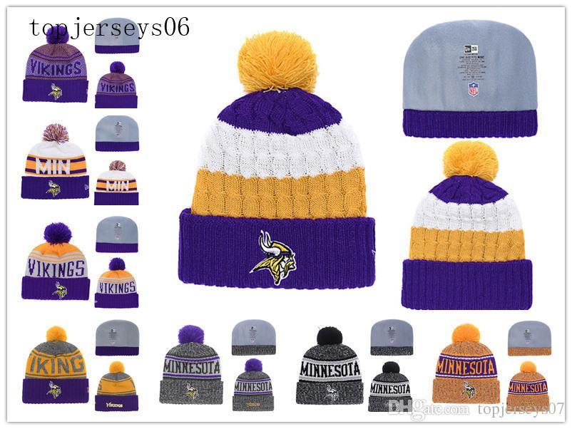 premium selection 0b316 880aa New Minnesota American football cap Vikings Era 2018 Sideline Cold Weather  Official Sport Knit Hat Purple
