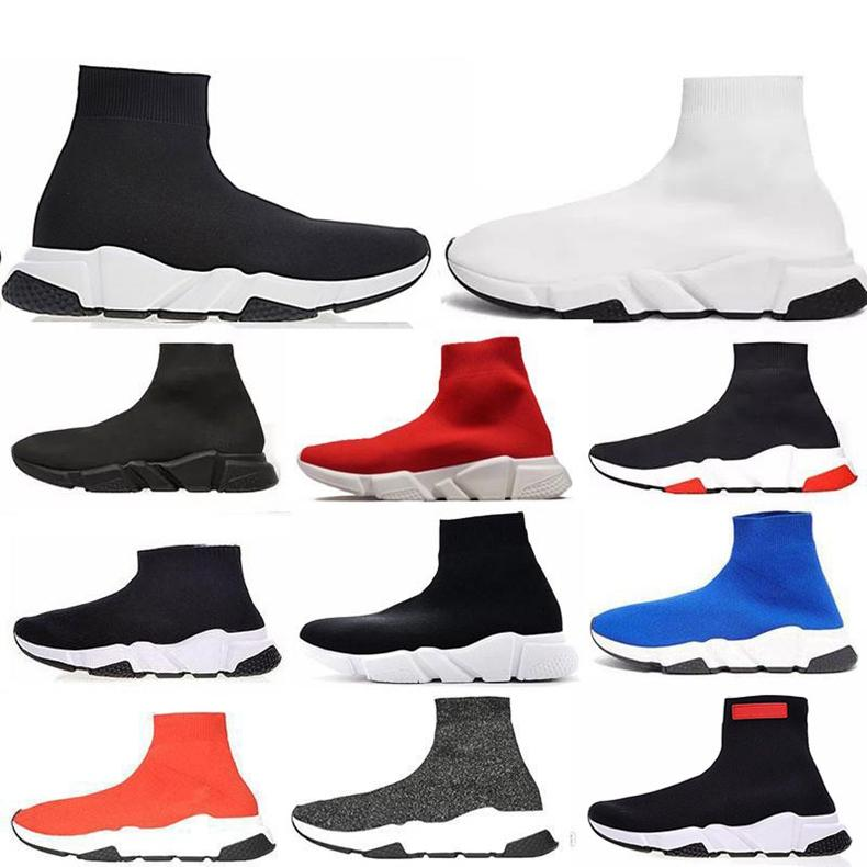High Quality Shoes black Speed Trainer Triple Black white red Flat Fashion Socks Boots fashion luxury mens women designer sandals shoes