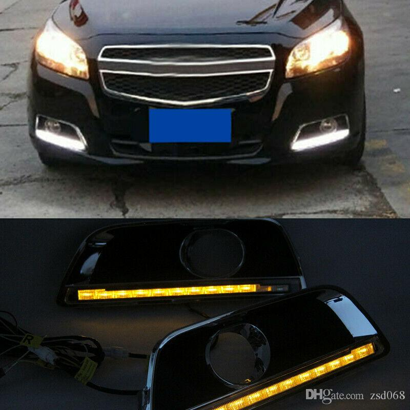 2x car auto White+Yellow LED Daytime Fog Lights DRL Run lamp diy For Chevrolet Malibu 2011-14