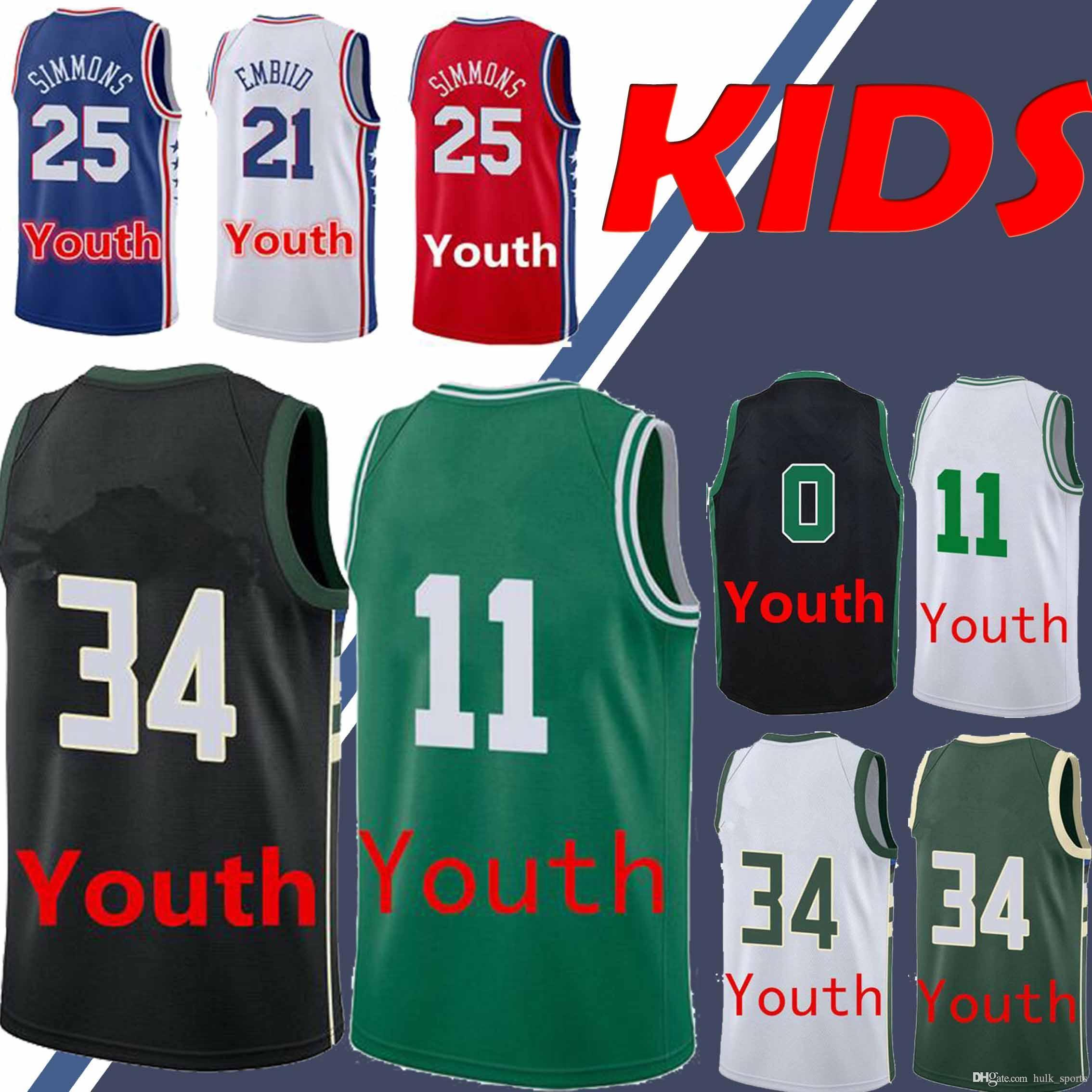 check out 0ed8c bc03e YOUTH Boston 0 Tatum 11 Irving jersey Philadelphia 21 Embiid 25 Simmons  jerseys Bucks 34 Antetokounmpo jersey kids