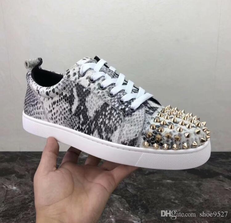 2019 Designer Low cut Python Leather With Spikes Red Bottom Sneaker Shoes  For Women,Mens Studs Casual Walking High Quality Leisure Flats