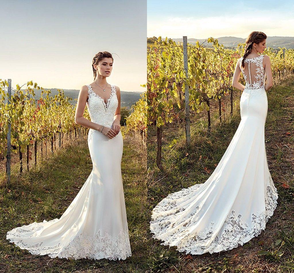2019 Romantic White Elegant Lace Mermaid Wedding Dresses V Neck Lace Satin  Illusion Back Wedding Bridal Gowns Boho Garden Wedding Gowns Cheap Wedding  Gown ... 0f07b4a2088a