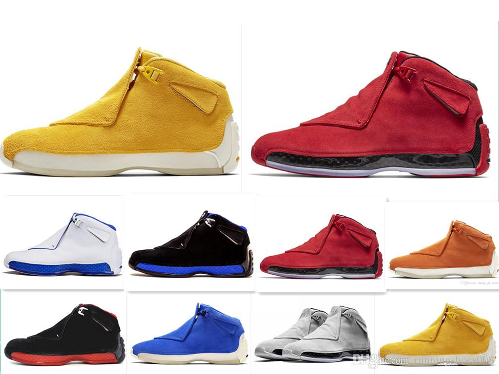 48b9bc1426f0 2019 Newest Blue Yellow Orange Suede 18s Basketball Shoes Defining Momen Ts Mens  Toro Red Black Royal 18 XVIII Cool Grey Sports Sneakers 8 13 From ...