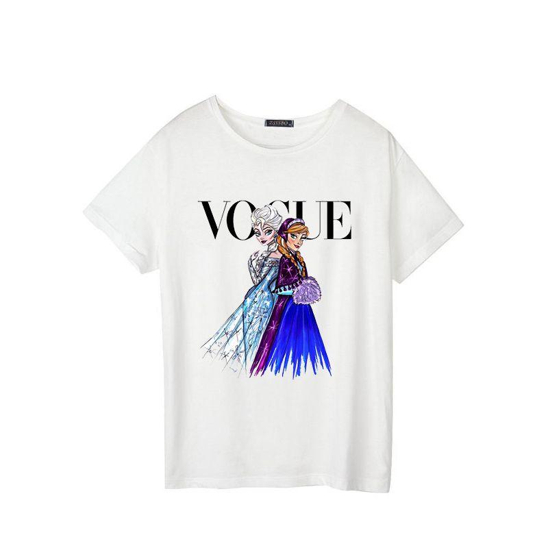 993e9b8cf53a9 Princess Vogue 2019 New Female Fashion Summer Short Sleeve Loose Large Code  Leisure Print Letter Tops Tees Punk T-shirt